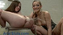 Babe gets enema and squirts in femdom video