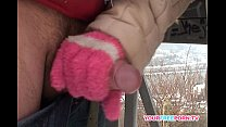 Blonde wife warms stranger's cock in the snow preview image
