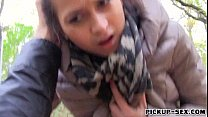 Amateur Eurobabe Ashley Woods fucked in the park for cash