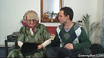 Lonely old granny pleasing an young stud thumbnail
