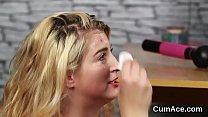 Slutty model gets sperm shot on her face swallowing all the semen