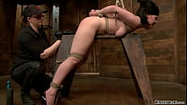 Lesbian tied to wooden horse toyed