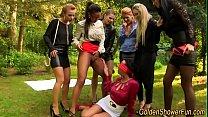 Glam lesbians pee soak