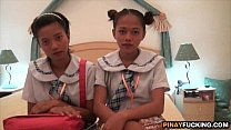 Two Asian Amateur Cuties Sharing A White Dick preview image