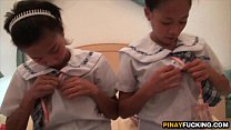 Two Asian Amateur Cuties Sharing A White Dick Preview