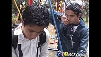 Cute twinks Alfonso and Cesar stuff each other in a shower
