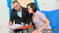 Ideal bookworm gets seduced and penetrated by her older tutor image