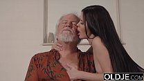 Teen Interrupts Grandpa from Yoga And Sucks his...