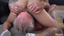 Beautiful Teens Girlfriend Threesome Suck Old Man Cock and Swallow big load thumbnail