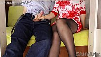 Show me what's in your pants! Let's play with you under the table, do you like my legs in pantyhose? - SanyAny