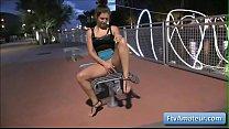 Busty sexy teen Fiona walking naked near a night club