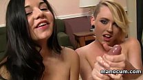 Teen bitches sucking and tugging big shaft in POV threesome video