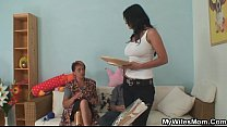 He gets seduced by his GF's old mom tumblr xxx video