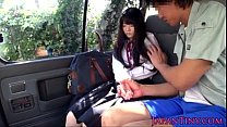 Tiny Japanese schoolgirl mouth fucked in car - ...