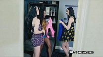 Foursome pussy fucking on besties movie night Preview
