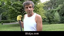 Older boner injects Gina's young ass in the garden thumbnail