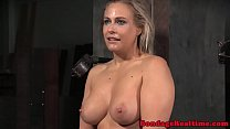 Bigtitted bdsm sub machine fucked during bj
