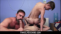Twink And Jock Step Son's Threesome With Bear Step Dad