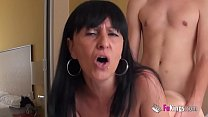 Big titted Vanesa will satisfy her dick thirst by deflowering a young and shy teacher صورة