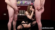 Slutty hottie gets cumshot on her face swallowing all the love juice porn thumbnail