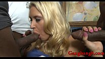 Busty blond gets her asshole banged by big black cock
