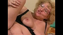 Granny gets her hairy pussy dildoed and fucked thumbnail