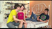 Gorgeous hotty is having a lusty trio interracial sex