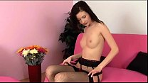 Brunette in panties and fishnet lingerie teases thumbnail