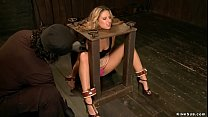 Back bend bound blonde is whipped