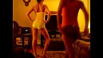 2 hot girls dancing 1 flashes tits