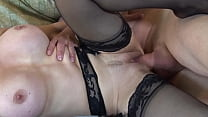 Insatiable milf sucks and presses the cock between her tits صورة