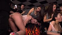 Orgy fucking and facials in public bar