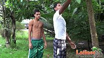 Latin mates get together for oral fun in the yard
