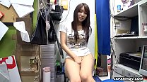 Japanese teen brunette, Mikuni Maisaki is masturbating at work, uncensored