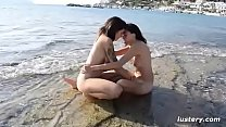 Erotic Homemade Amateur Lesbian Sex on the Beach
