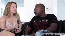 Sexy blonde fucks a divorced black guy