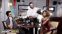 BANGBROS - Xianna Hill Is Being Ignored By Her Boyfriend At Restaurant, So The Waiter Steps In To Help video
