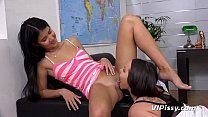 Lesbian Piss Drinking - Raven haired hotties soak each other in golden pee