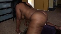 Ebony with fat ass fucks huge dildo