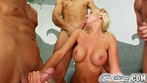 Cum For Cover Blonde slut services multiple cock with her mouth