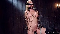 Shaved pussy Milf in device bondage