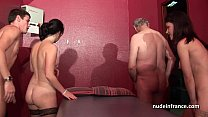 Young french babes banged and sodomized in 4som...