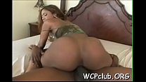 Black penis is inserted in tight anal opening of hot white babe