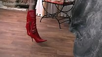 Kinky Milf teases panties nylon legs and leather boots