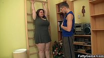 Busty chunky babe seduces fitness instructor