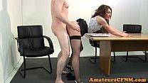 Classy beauty fucked hard while being dressed