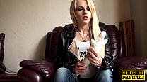 Solo british skank toys pussy with vibrator thumbnail