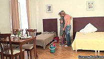 Cleaning mature woman rides his hard meat Preview