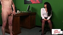 CFNM office babe instructing naked sub