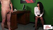 CFNM office babe instructing naked sub